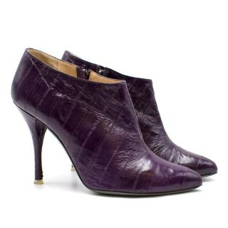 Francesca Mambrini Purple Eel Leather Heeled Boots
