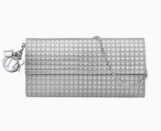 Dior silver-tone perforated calfskin Lady Dior croisi�re wallet