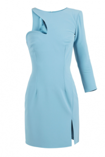 Elisabetta Franchi blue one shoulder mini dress
