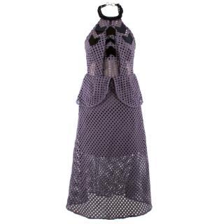 Self Portrait Purple Crochet Peplum Dress