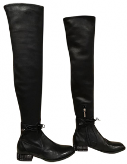 Dior Studded Thigh High Leather black Boots