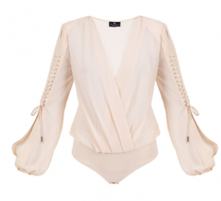 Elisabetta Franchi pink lace-up bodysuit