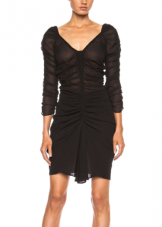 Isabel Marant Carlyn Ruched Silk Georgette Dress