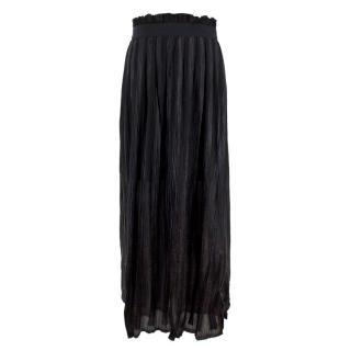 Willow Black Pleated Midi Skirt