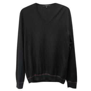Gucci black men's v-neck jumper