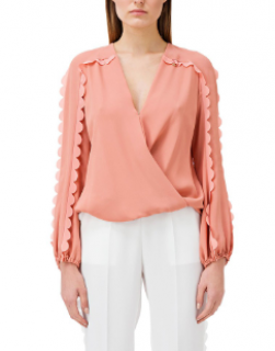 Elisabetta Coral Scalloped Edge Blouse