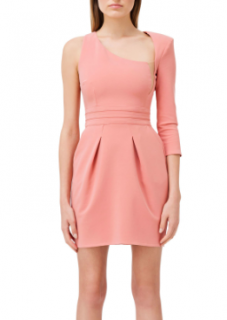 Elisabetta Franchi coral one shoulder mini dress