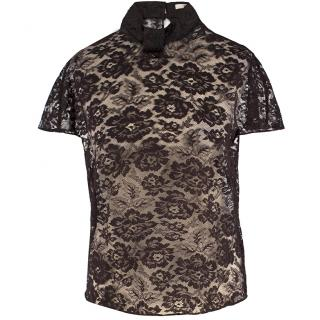 Erdem Brown Sheer Lace Top