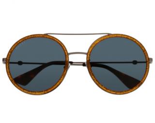 Gucci Gold Glitter Round Sunglasses
