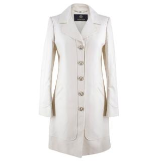 Versace White Cotton-blend Single-breasted Coat
