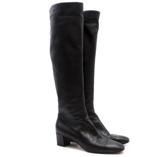 Gianvito Rossi Black Leather Knee High Boots