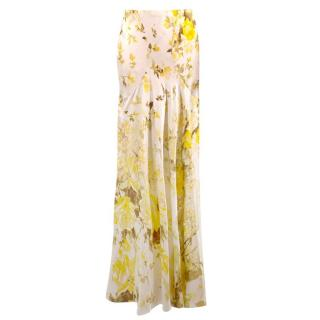 Roberto Cavalli Silk Yellow Floral Fluted Maxi Skirt