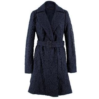 Diane Von Furstenberg Navy Crochet Coat