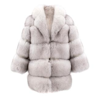 Keska White Arctic Fox Fur Coat