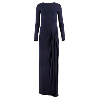 Gucci Navy Buckled Backless Gathered Gown