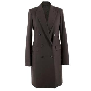Theory Brown Wool-blend Double-breasted Coat