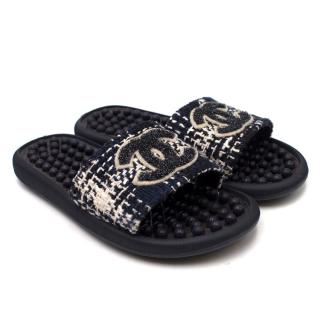 Chanel Tweed CC Pool Slides