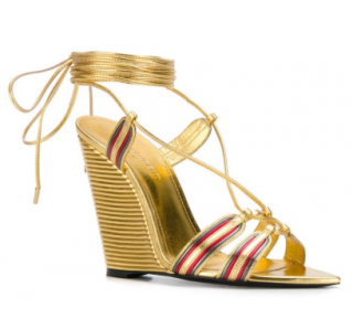 Saint Laurent Metallic Wedge Sandals