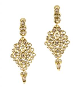 Oscar De La Renta Gold Crystal Tear Drop Earrings
