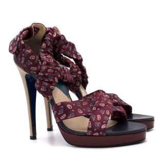 Sutor Mantellassi Bespoke Tie-print Silk High-heeled Sandals