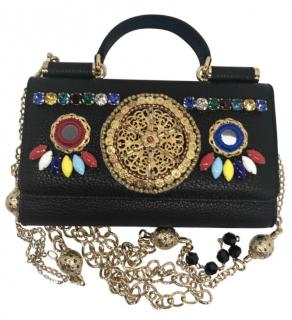 Dolce & Gabbana Leather Sicily Pom Pom bag