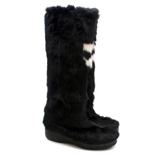 Bespoke Black Rabbit Fur Boots