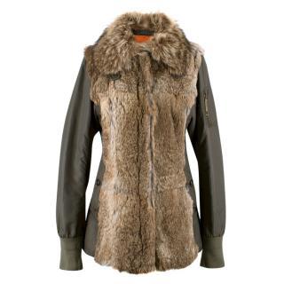 Dolce & Gabbana Fur & Nylon Parka Coat