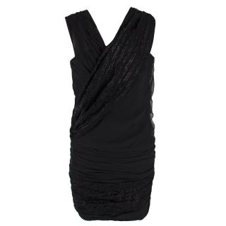 Jay Ahr Black Ruched One-shoulder Mini Dress