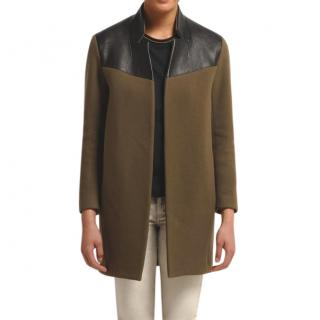 Maje Khaki with Black Leather Coat