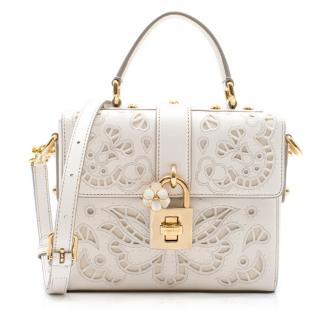 Dolce & Gabbana Lace Padlock Nappa Leather Top Handle Bag