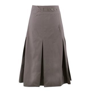 Bottega Veneta Grey Pleated Maxi Skirt