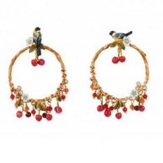 Les Nereides Bird On A Branch Of Cherry Tree Hoop Earring