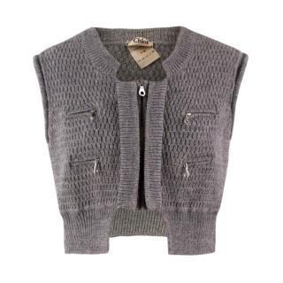 Chloe Wool Grey Cropped Waistcoat