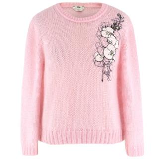 Fendi Pink Mohair and Silk Embroidered Jumper