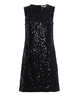 Diane Von Furstenberg Kaleb black sequinned lace dress