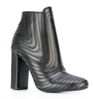 Salvatore Ferragamo black leather 'Zig Zag' booties
