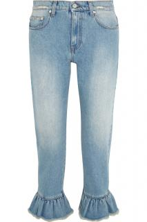MSGM Distressed Ruffle-Trimmed Jeans