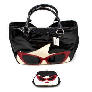 Lulu Guinness Black Sunglasses Doll Face Small Wanda Bag & Purse