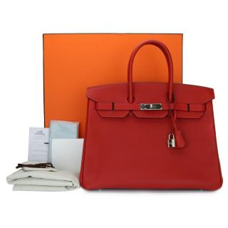Hermes Rouge Casaque Epsom Leather 35cm Birkin Bag