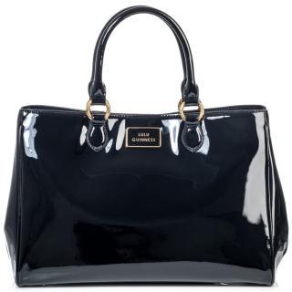 Lulu Guinness Black Patent Leather Large Amelia Bag