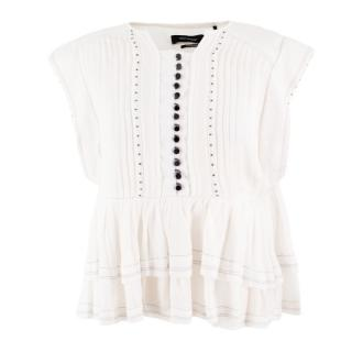 Isabel Marant White Ruffled Top