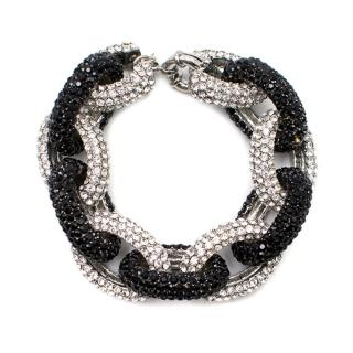 Butler & Wilson Black and White Crystal Chain Bracelet