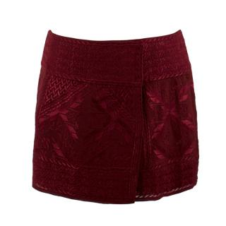 Iabel Marant Burgundy Embroidered Wrap Miniskirt