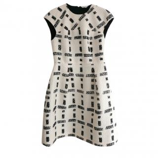Fendi PF'14 3D Print Black & White Wool Dress