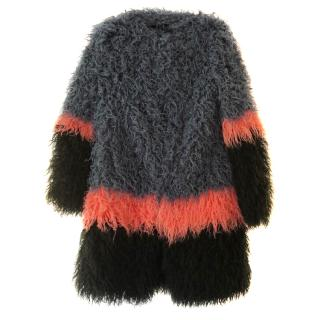 Shrimps New Faux Shaggy Fur Colour Block Coat