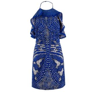 Roberto Cavalli Blue Spotted Minidress