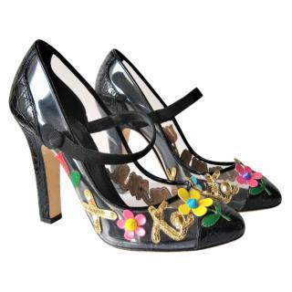 Dolce & Gabbana embellished black leather pumps