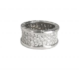 Bvlgari B Zero1 wide ring, 18k white gold with pav� diamonds, size 53