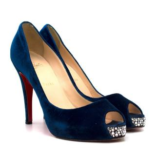 Christian Louboutin Crystal Encrusted Velvet Peep Toe Pumps