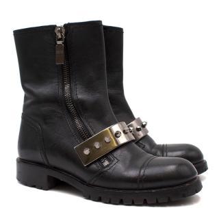 Alexander McQueen Leather Stud Plate Biker Boots